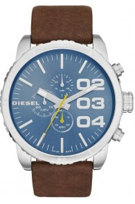 Diesel Mavi Kadranlı Mineral Cam Kahverengi Kordonlu Erkek Saati