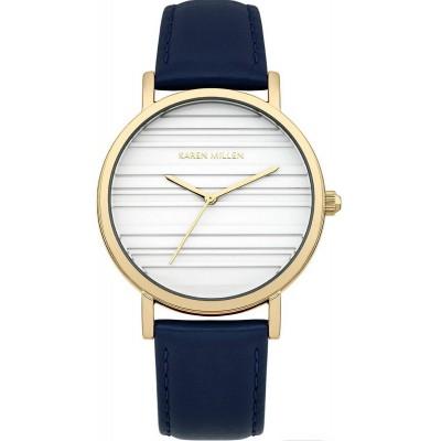 Karen Millen Lacivert Kordonlu Kadın Saati (Altın Kaplama)