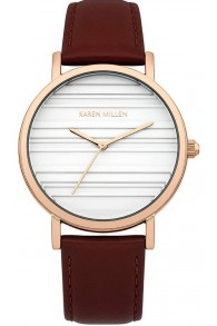 Karen Millen Kahverengi Kordonlu Kadın Saati (Rose Gold Kaplama)